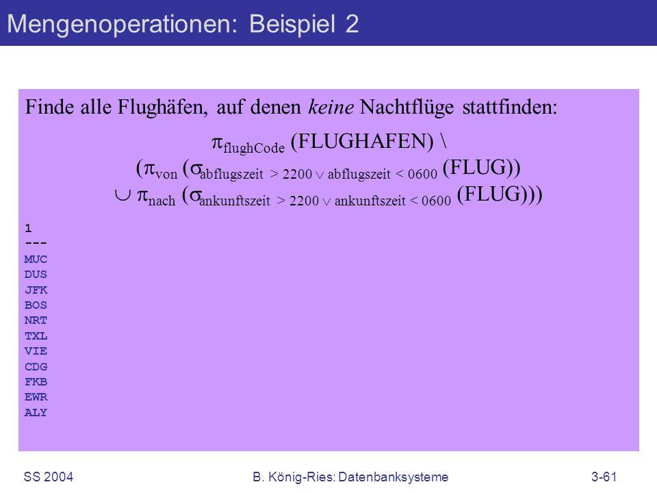 Mengenoperationen: Beispiel 2