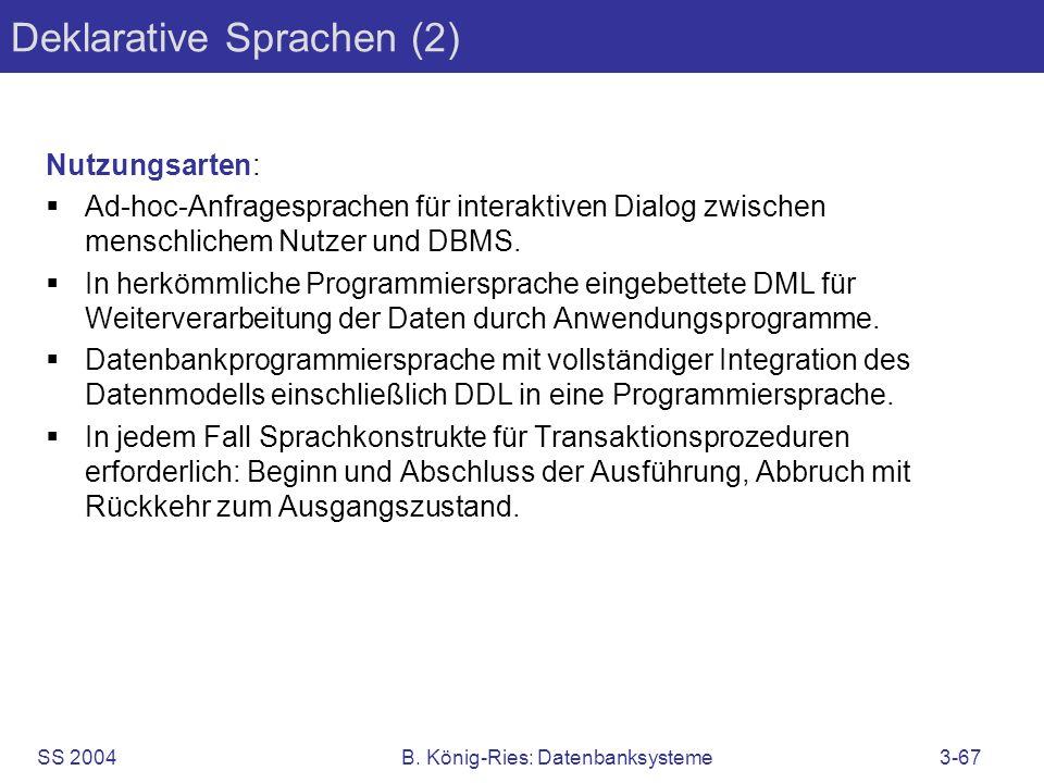 Deklarative Sprachen (2)