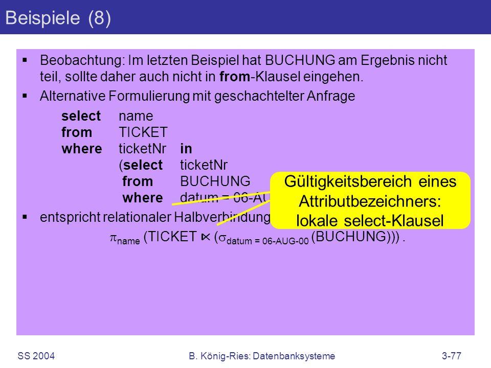 Beispiele (8) Gültigkeitsbereich eines Attributbezeichners: