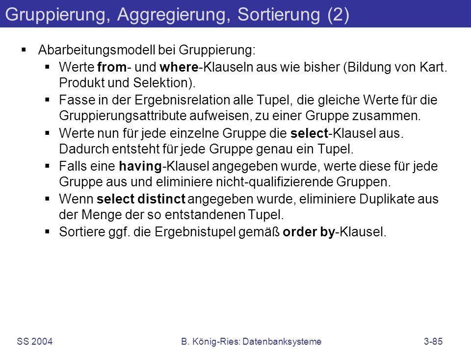 Gruppierung, Aggregierung, Sortierung (2)