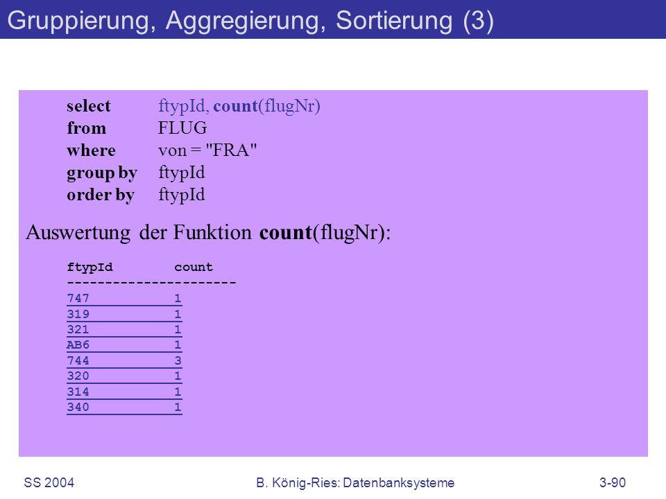 Gruppierung, Aggregierung, Sortierung (3)