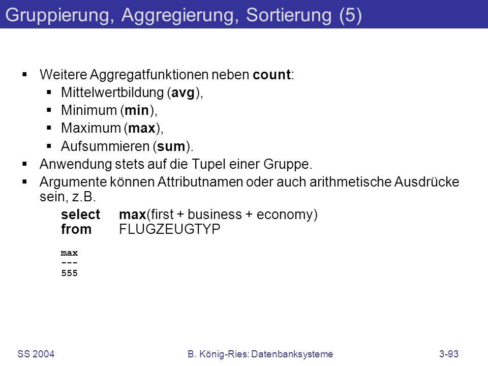 Gruppierung, Aggregierung, Sortierung (5)