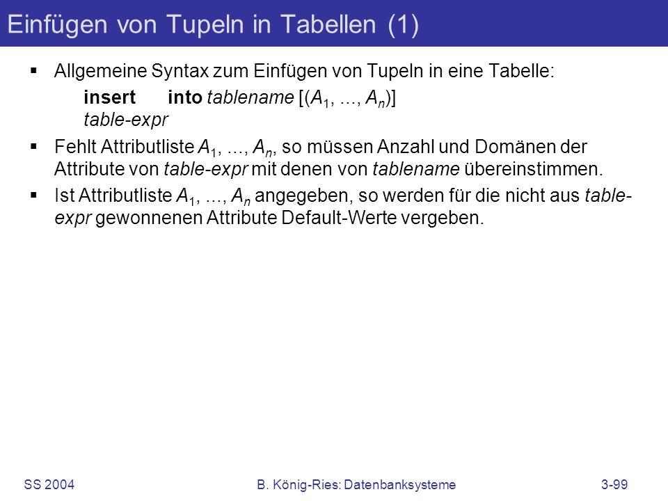 Einfügen von Tupeln in Tabellen (1)
