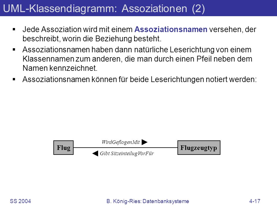 UML-Klassendiagramm: Assoziationen (2)