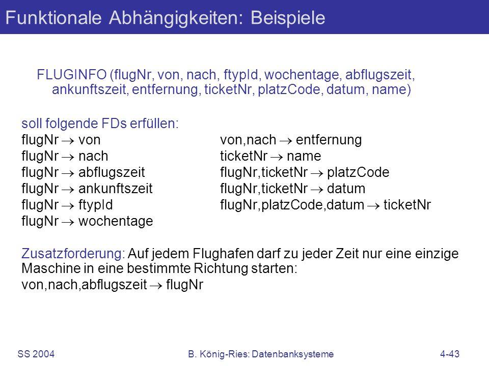 Funktionale Abhängigkeiten: Beispiele