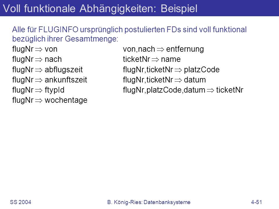 Voll funktionale Abhängigkeiten: Beispiel