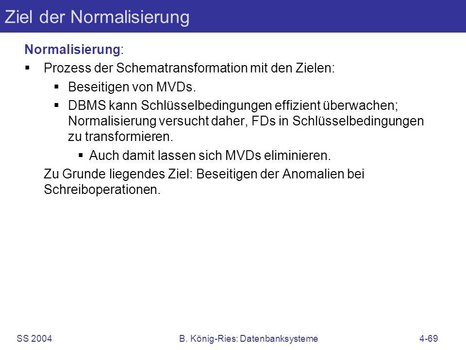 Ziel der Normalisierung