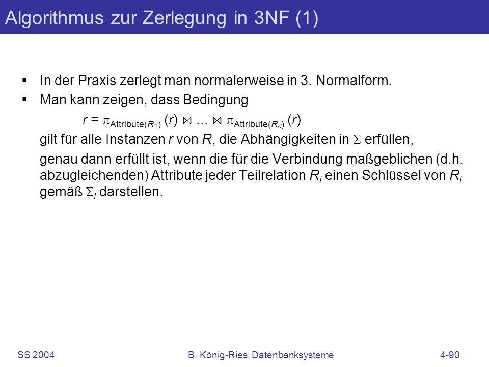 Algorithmus zur Zerlegung in 3NF (1)