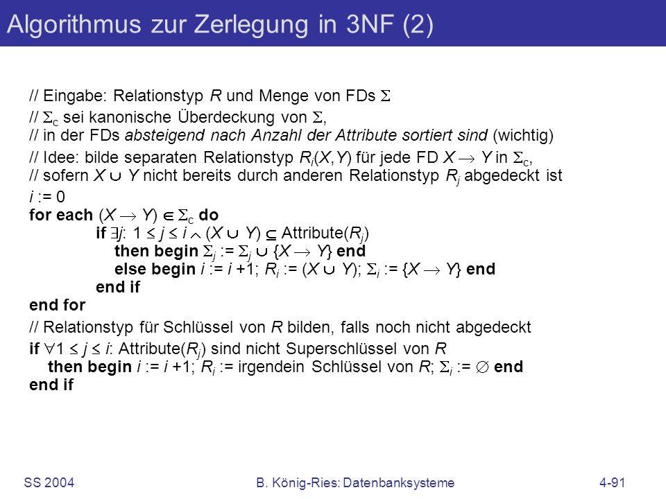 Algorithmus zur Zerlegung in 3NF (2)