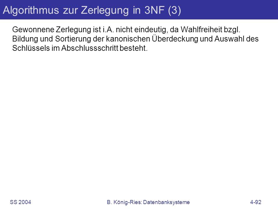 Algorithmus zur Zerlegung in 3NF (3)