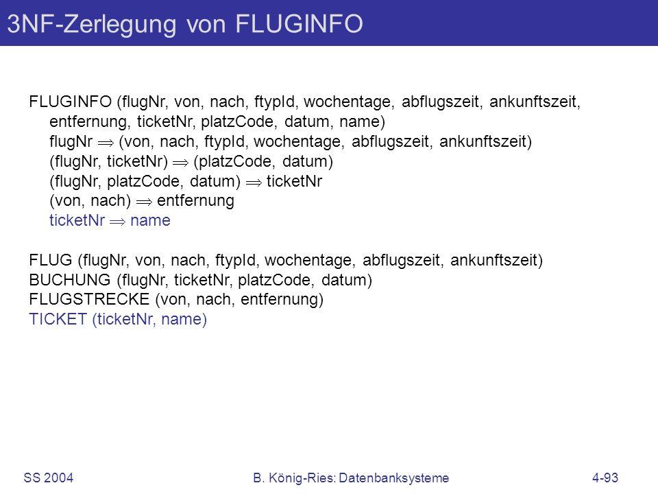 3NF-Zerlegung von FLUGINFO