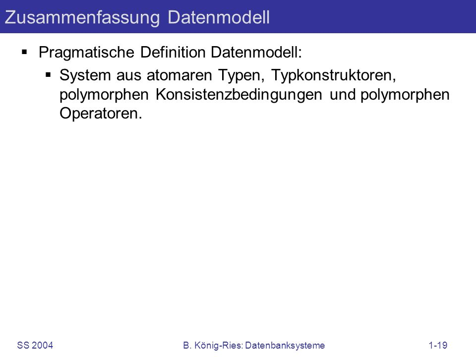 Zusammenfassung Datenmodell