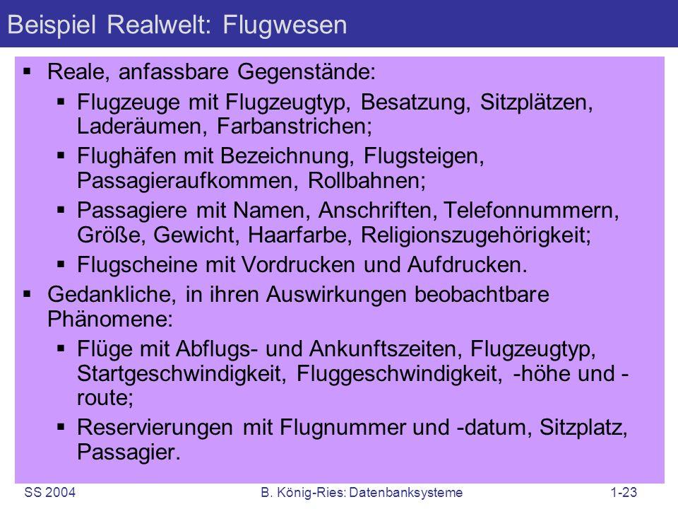 Beispiel Realwelt: Flugwesen