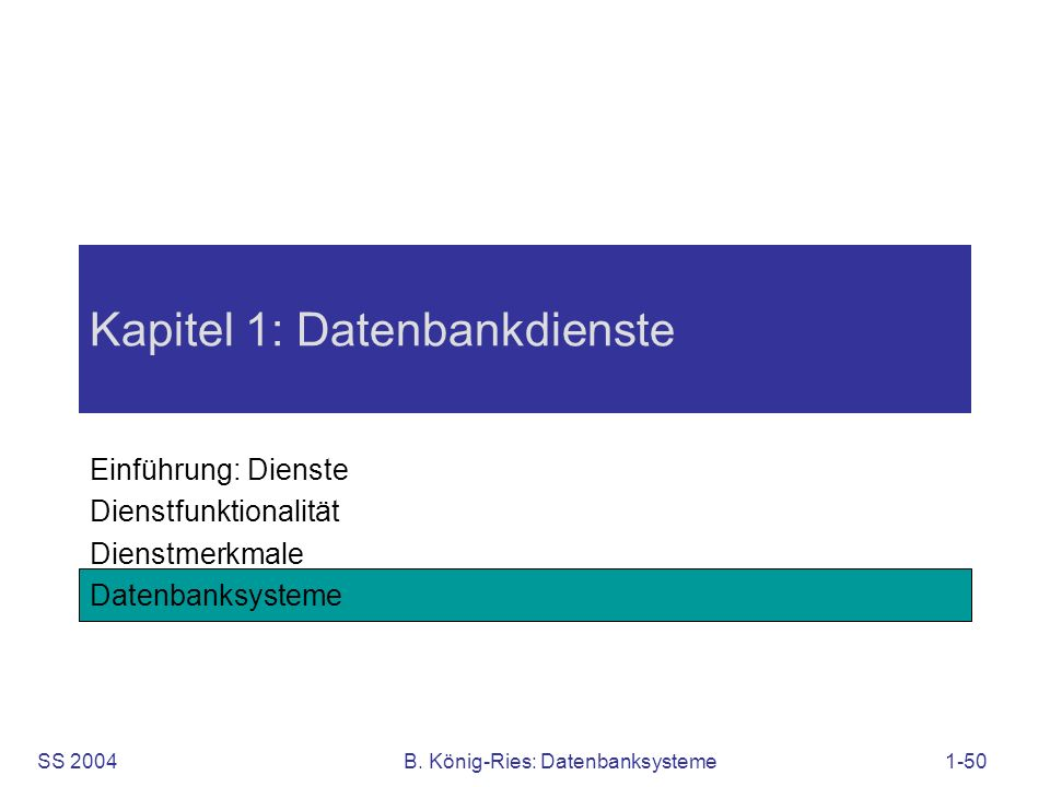 Kapitel 1: Datenbankdienste