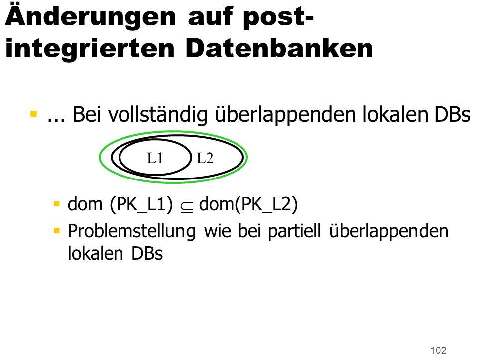 Änderungen auf post-integrierten Datenbanken