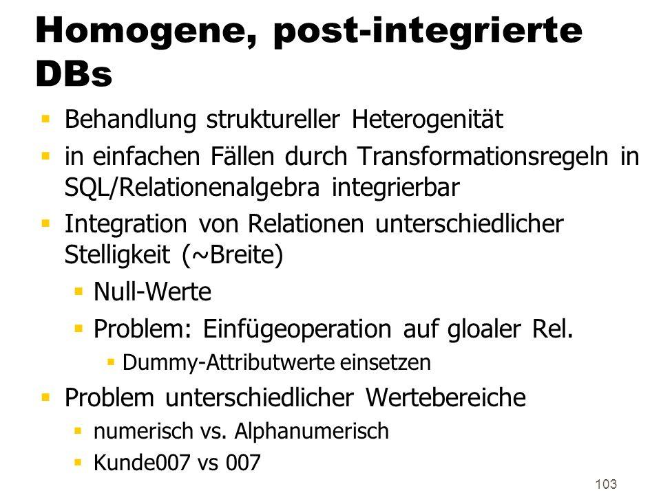 Homogene, post-integrierte DBs