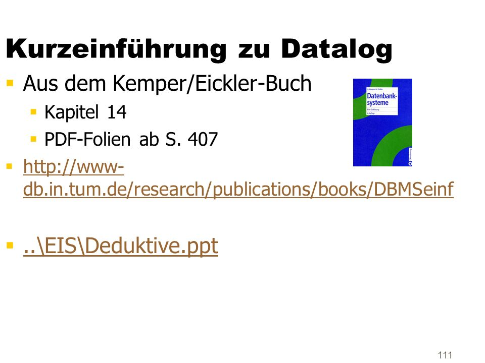 Kurzeinführung zu Datalog