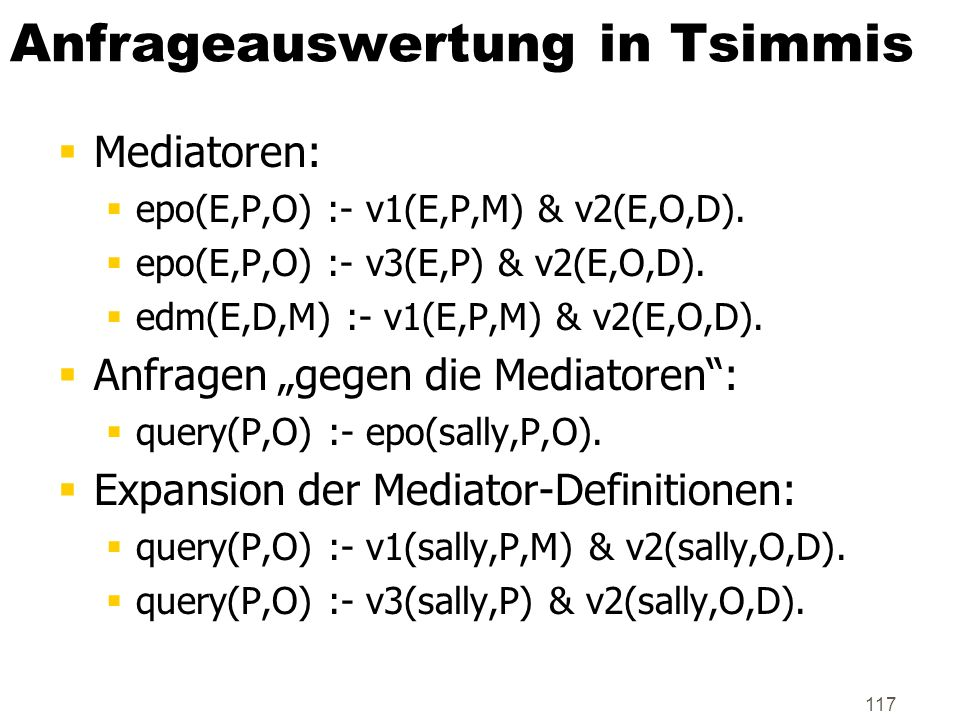 Anfrageauswertung in Tsimmis