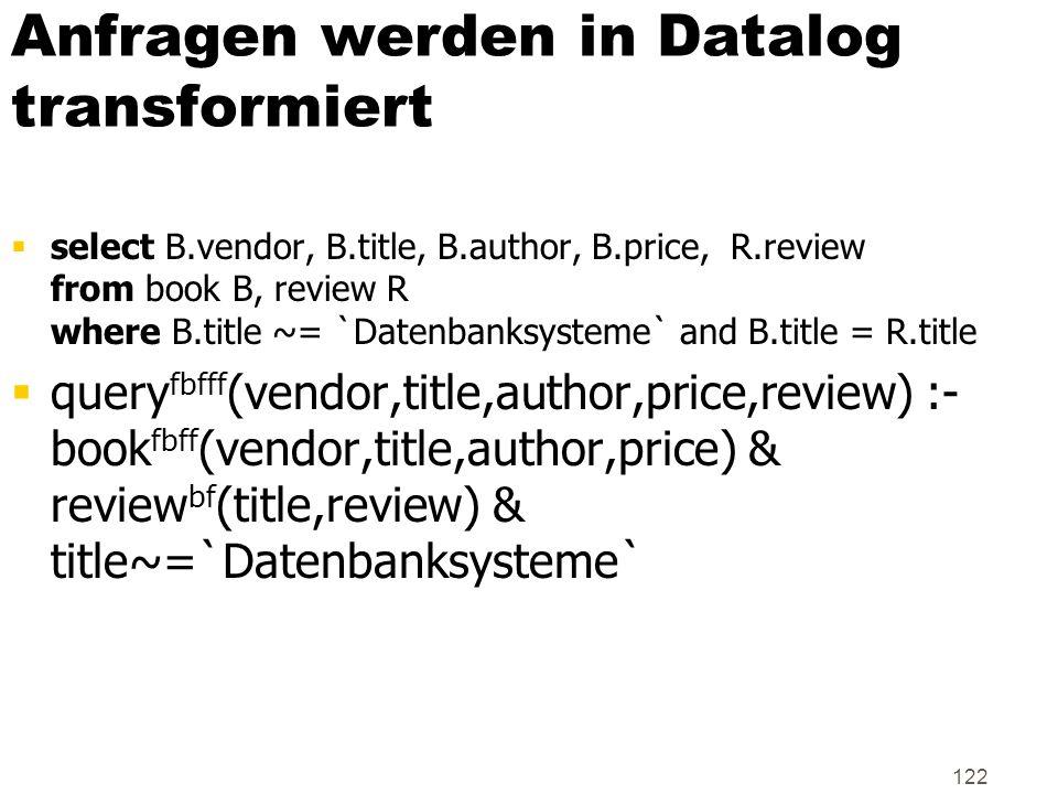 Anfragen werden in Datalog transformiert