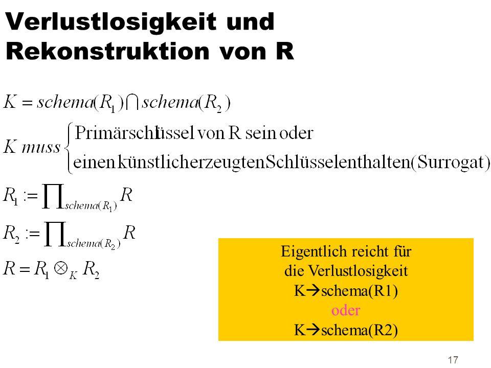 Verlustlosigkeit und Rekonstruktion von R