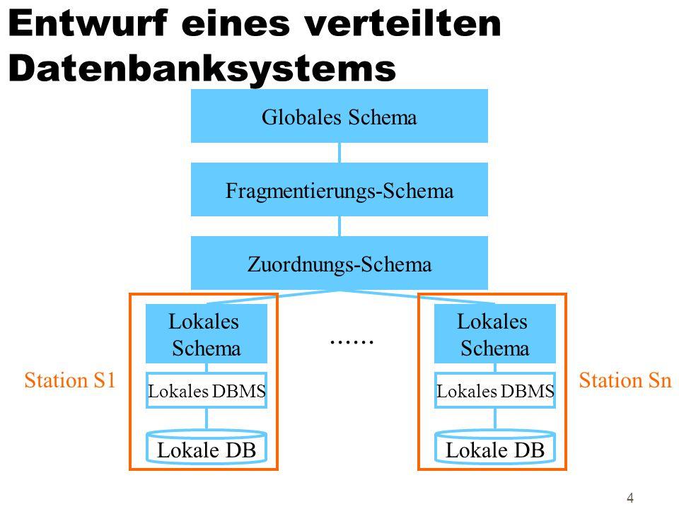 Entwurf eines verteilten Datenbanksystems