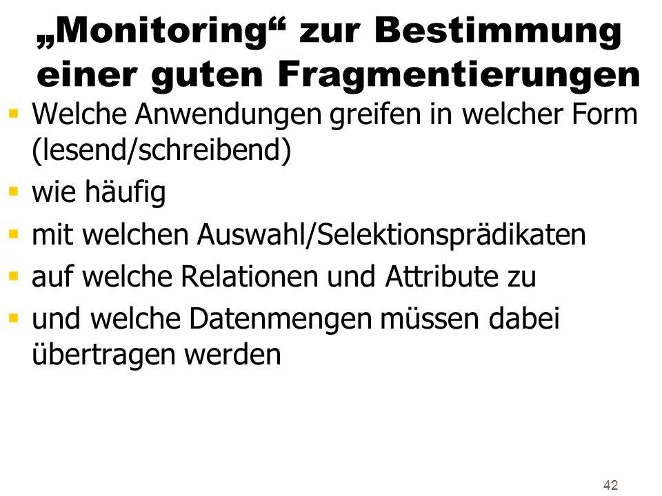 """""""Monitoring zur Bestimmung einer guten Fragmentierungen"""