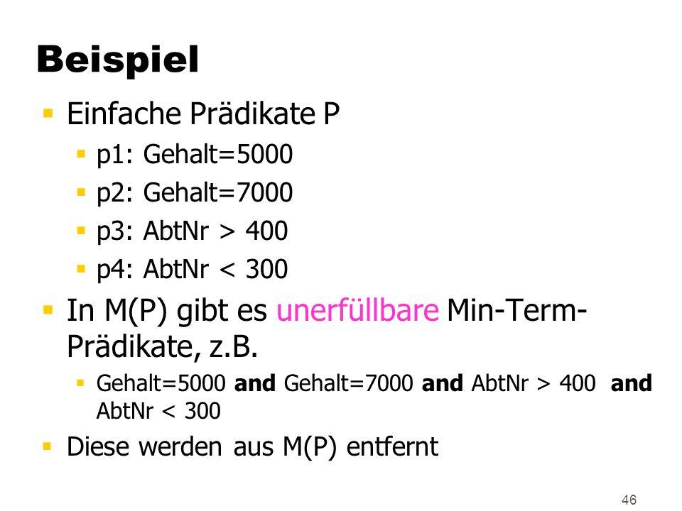 Beispiel Einfache Prädikate P