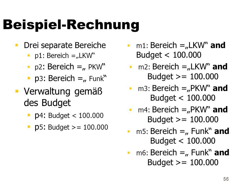 Beispiel-Rechnung Verwaltung gemäß des Budget Drei separate Bereiche