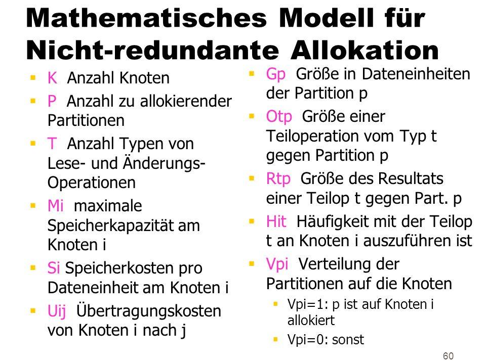 Mathematisches Modell für Nicht-redundante Allokation
