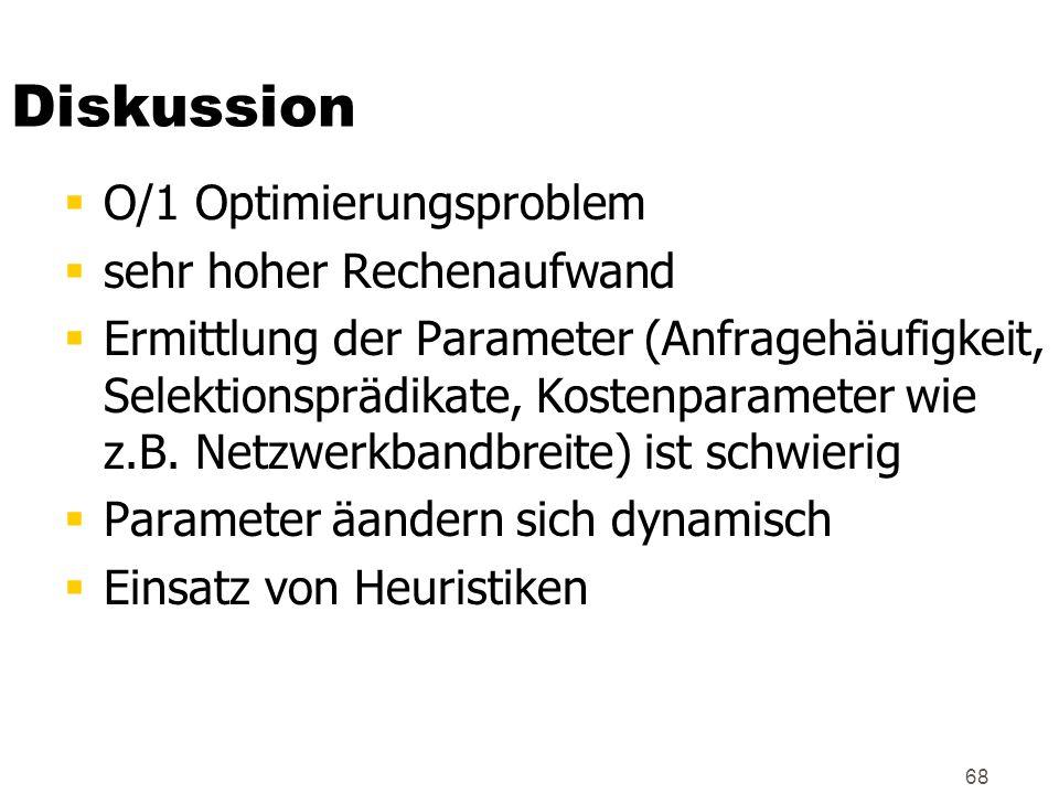 Diskussion O/1 Optimierungsproblem sehr hoher Rechenaufwand