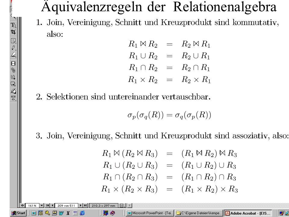 Äquivalenzregeln der Relationenalgebra