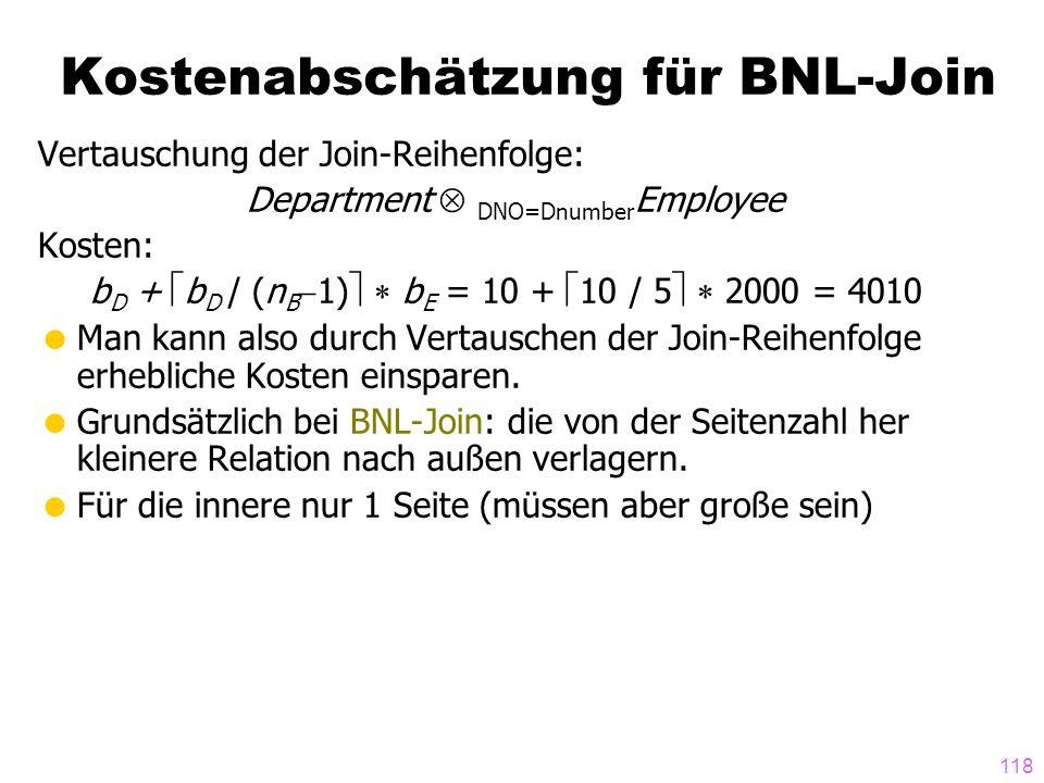 Kostenabschätzung für BNL-Join