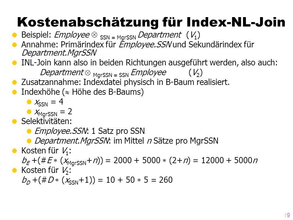 Kostenabschätzung für Index-NL-Join