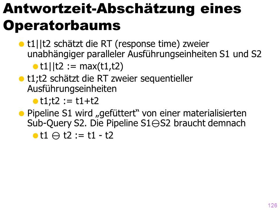Antwortzeit-Abschätzung eines Operatorbaums