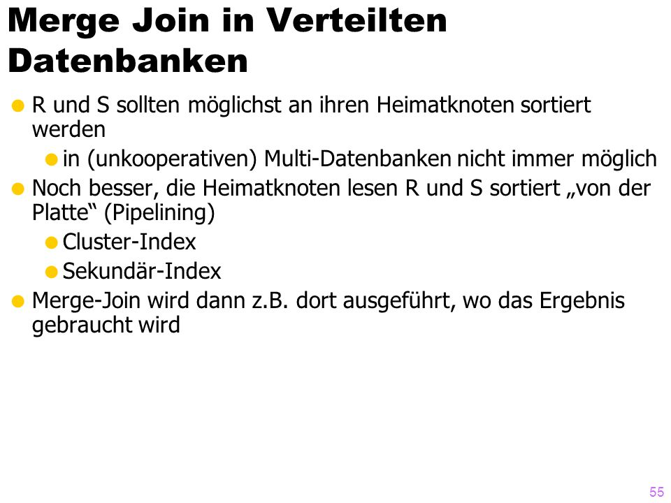 Merge Join in Verteilten Datenbanken