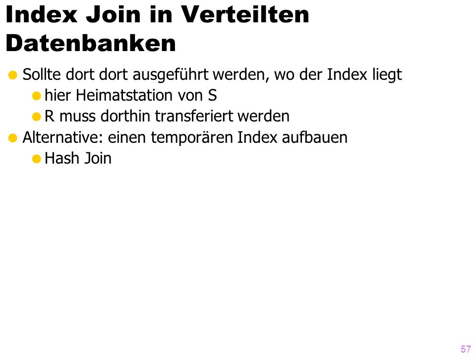 Index Join in Verteilten Datenbanken