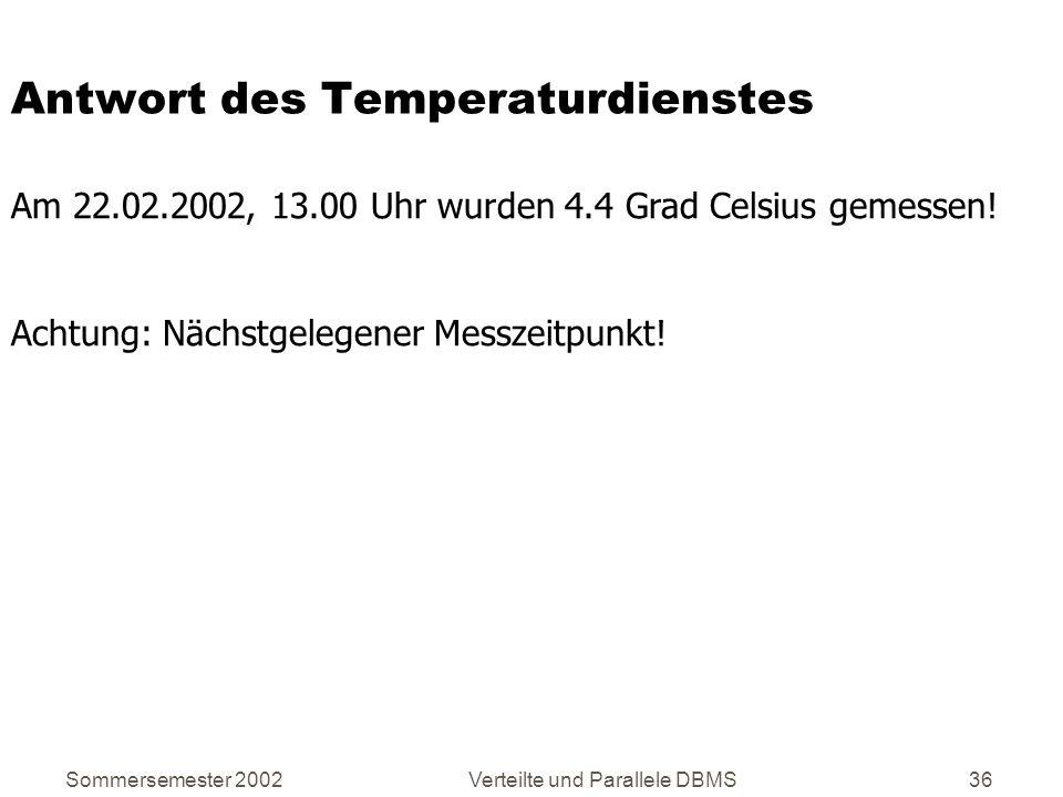 Antwort des Temperaturdienstes