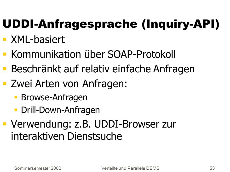 UDDI-Anfragesprache (Inquiry-API)