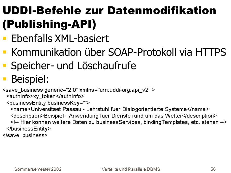UDDI-Befehle zur Datenmodifikation (Publishing-API)