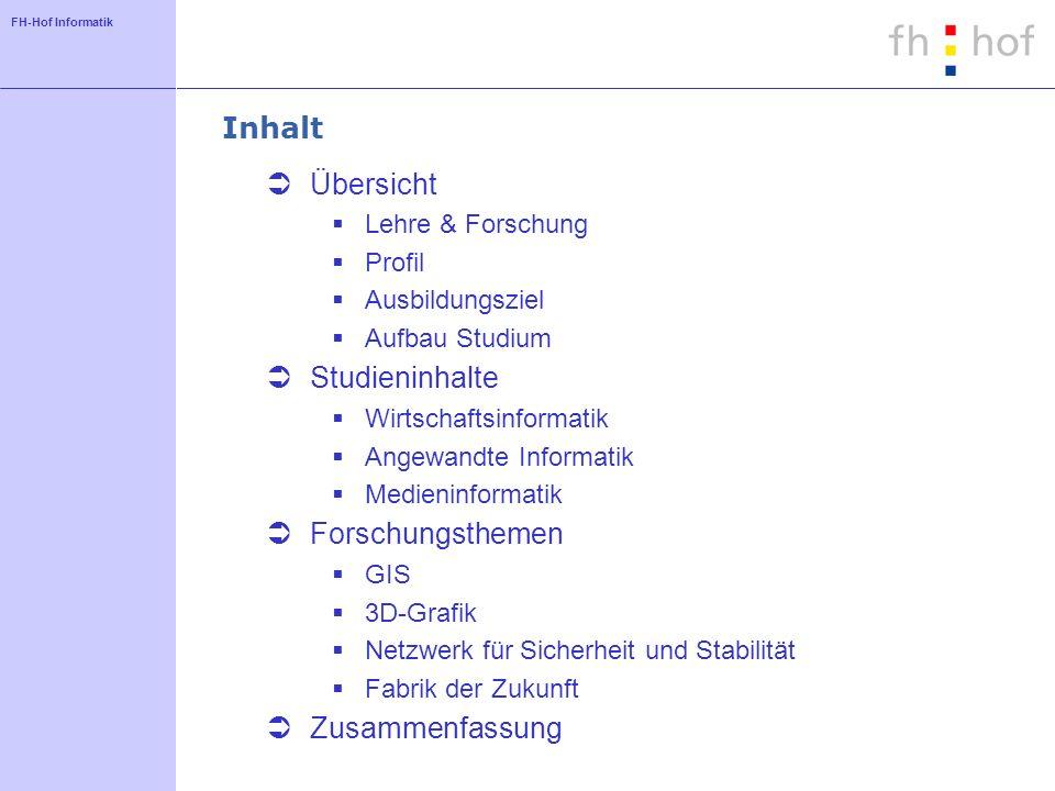 Inhalt Übersicht Studieninhalte Forschungsthemen Zusammenfassung