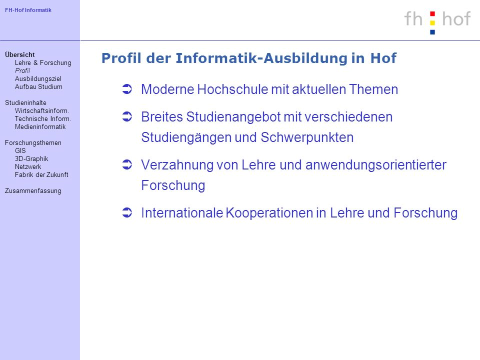 Profil der Informatik-Ausbildung in Hof