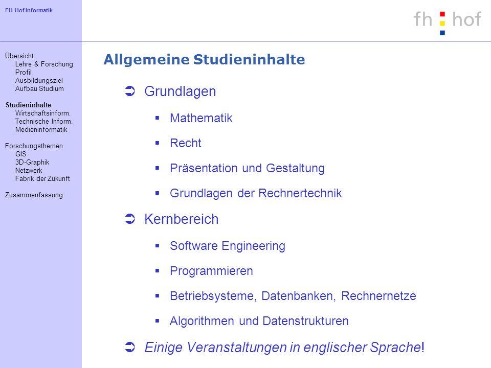 Allgemeine Studieninhalte