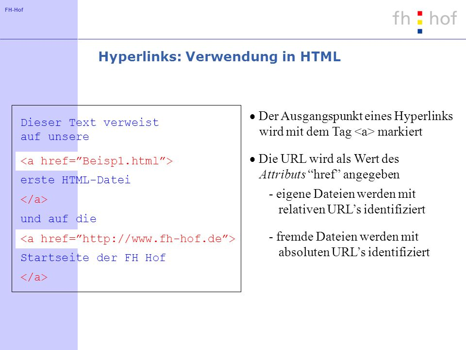 Hyperlinks: Verwendung in HTML