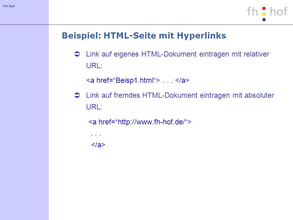 Beispiel: HTML-Seite mit Hyperlinks