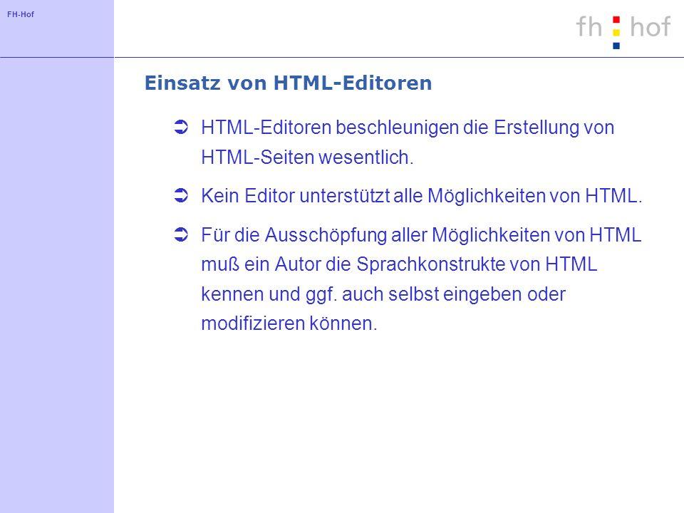 Einsatz von HTML-Editoren