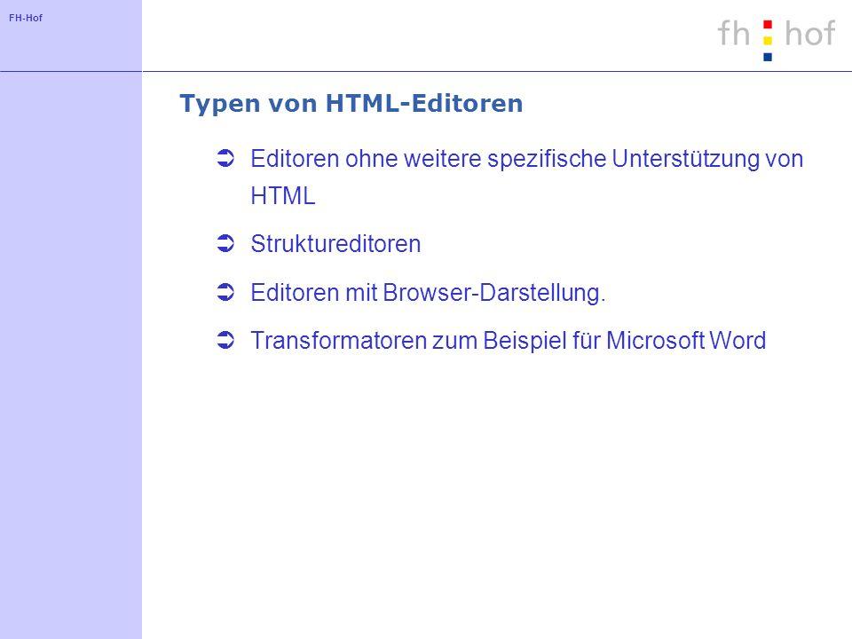 Typen von HTML-Editoren