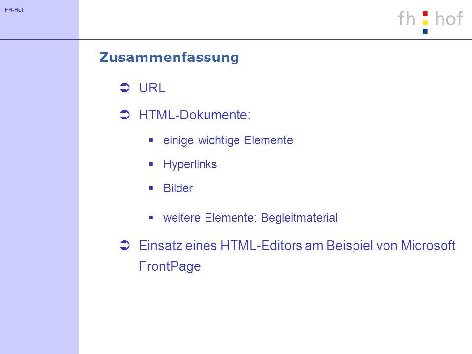Einsatz eines HTML-Editors am Beispiel von Microsoft FrontPage
