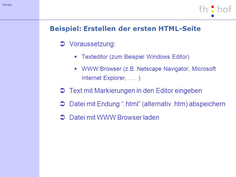 Beispiel: Erstellen der ersten HTML-Seite