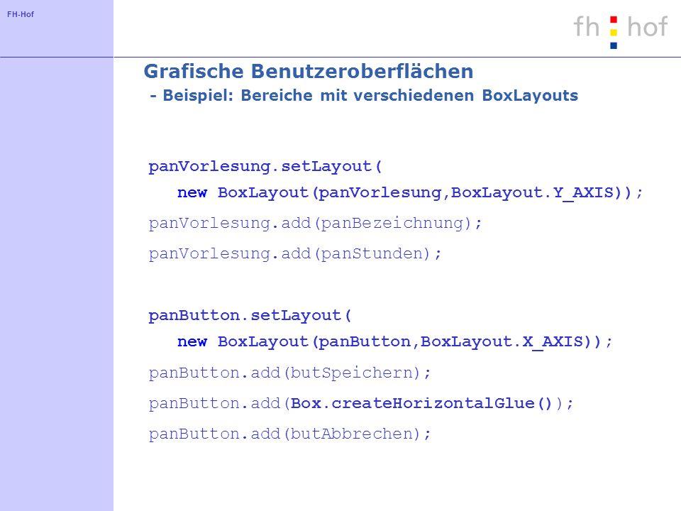 Grafische Benutzeroberflächen - Beispiel: Bereiche mit verschiedenen BoxLayouts