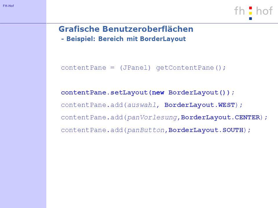 Grafische Benutzeroberflächen - Beispiel: Bereich mit BorderLayout